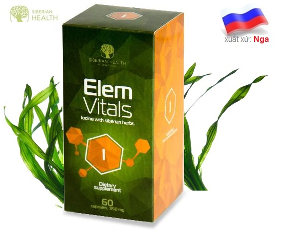 Elemvitals Iodine with Siberian herbs Hỗ Trợ Tuyến Giáp Ngăn Ngừa Ung Bứu