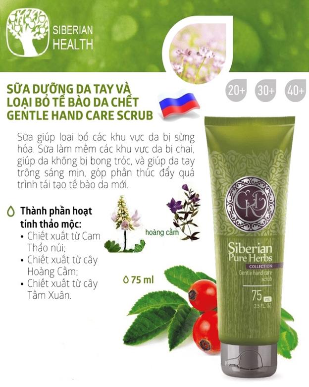 Sữa dưỡng da tay và loại bỏ tế bào da chết/Siberian Pure Herbs Collection Gentle Hand Care Scrub